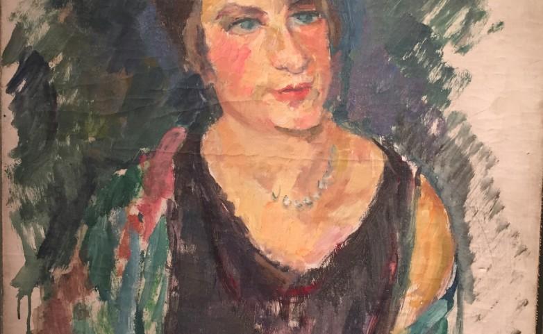 <span>attribué à Charles CAMOIN:</span> Portrait gouache sur toile&lt;br /&gt; signé au dos Ch Camoin