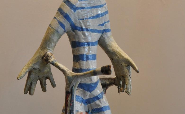 <span>LEOPOLD MARBOEUF:</span> &quot;le cycliste&quot;&lt;br /&gt; sculpture papier/bois/colle/huile