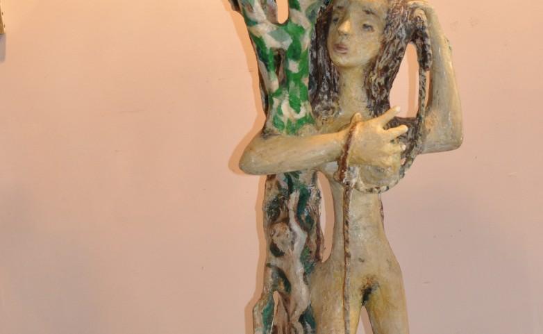 <span>LEOPOLD MARBOEUF:</span> la pêcheuse&lt;br /&gt; sculpture papier/bois/colle/huile