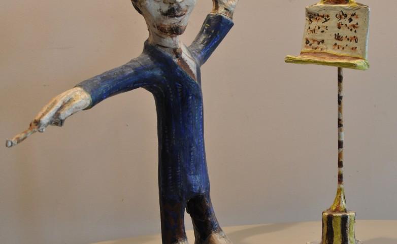 <span>LEOPOLD MARBOEUF:</span> &quot;le chef d'orchestre&quot;&lt;br /&gt; sculpture papier/bois/colle/huile