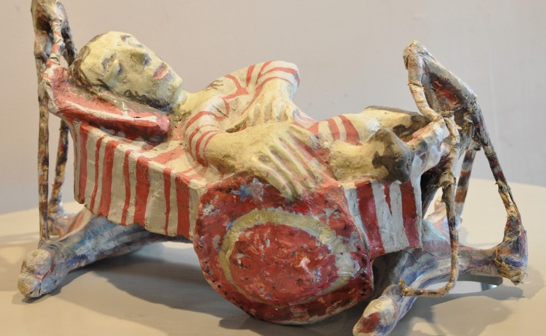 <span>LEOPOLD MARBOEUF:</span>  &quot;la dormeuse&quot;&lt;br /&gt; sculpture  bois - papier - colle/ huile