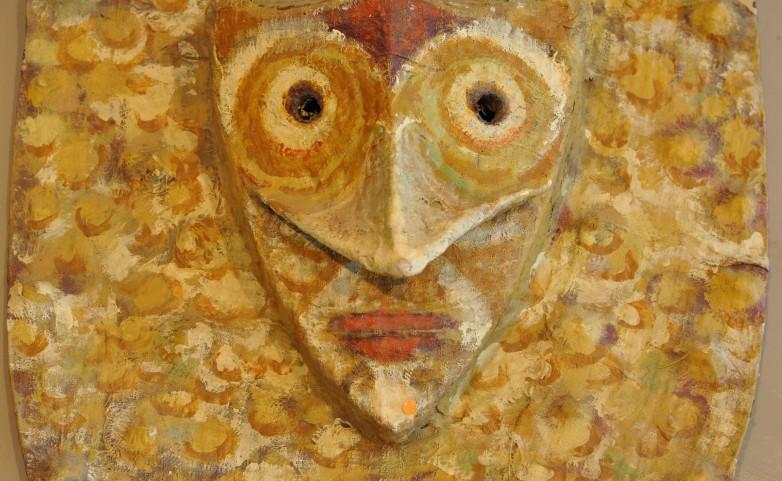 <span>LEOPOLD MARBOEUF:</span> Masque monstrueux&lt;br /&gt; &lt;br /&gt; papier/tissu/colle/huile&lt;br /&gt;